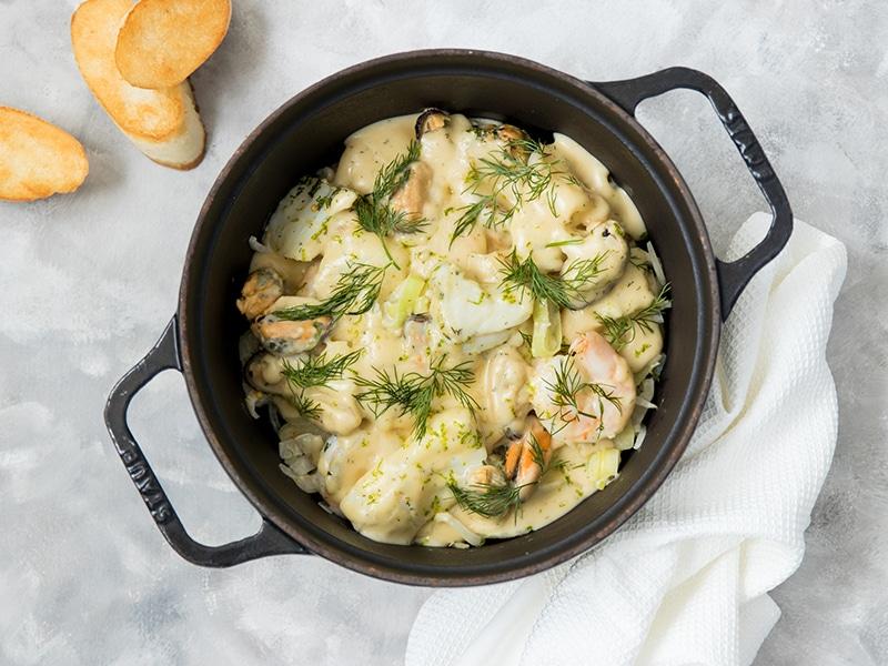 Recept fris visstoofpotje met kabeljauw mosselen en venkel