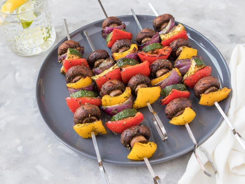 Recept voor een BBQ groentespies met paprika,courgette