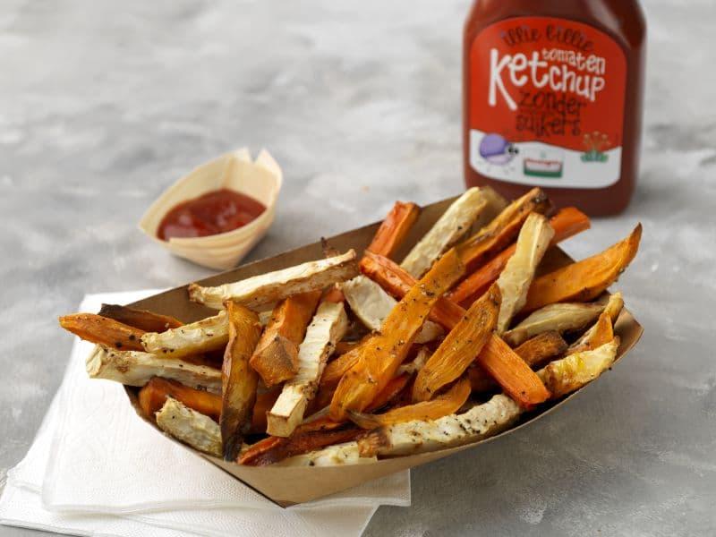 Recept groentefriet van wortel, pastinaak en zoete aardappel