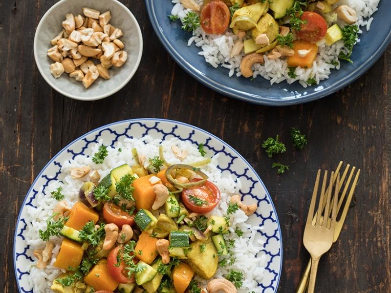 Recept voor Marokkaanse curry met kip, pompoen en courgette
