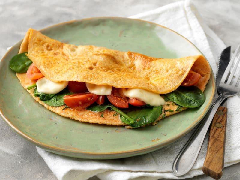 Recept voor wrap van ei met spinazie en mozzarella