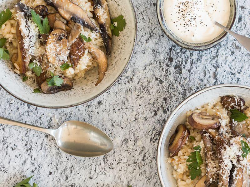 Recept voor risotto met een melange van paddenstoelen