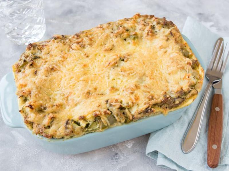 Recept voor Lasagne met kipgehakt, mozzarella en champignons
