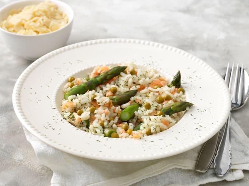 risotto recept met zalm asperges en doperwten