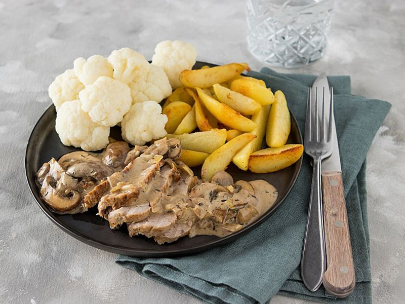 Recept voor varkenshaas met bloemkool en aardappelen