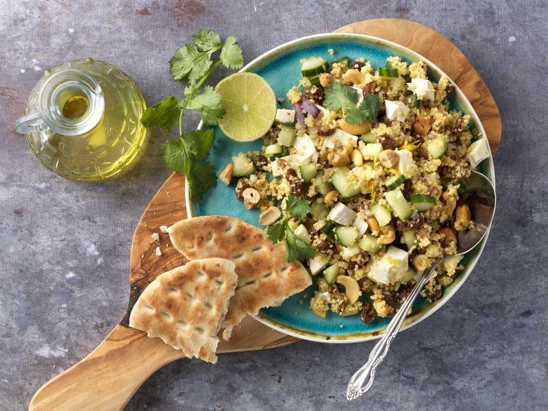Recept frisse couscoussalade met komkommer en koriander