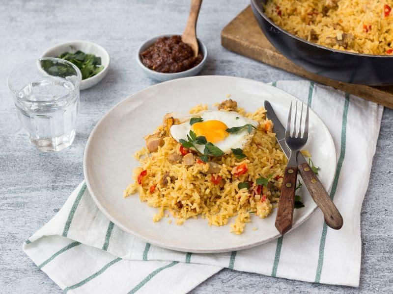 Recept nasi met kip, ei en saté saus