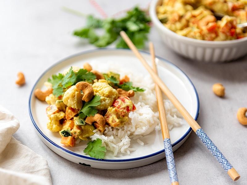 Recept voor vegetarische curry met bloemkool