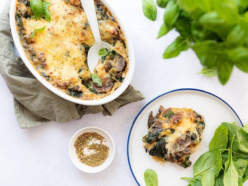 Recept voor vegetarische lasagne met paddenstoelen en spinazie