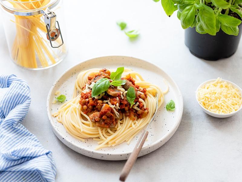 Recept voor vegetarische pasta bolognese met linzen