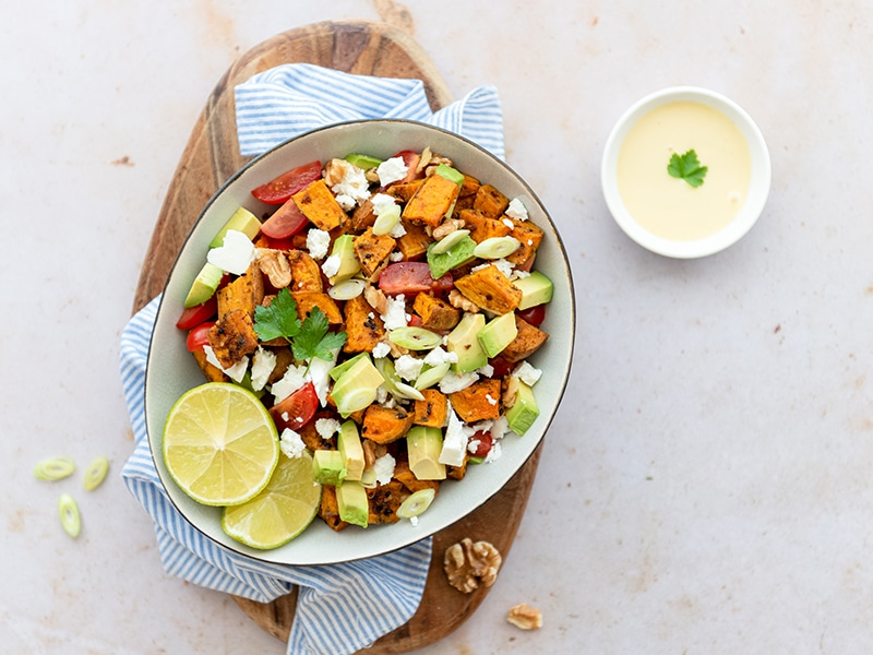 Vegetarische zoete aardappelsalade recept