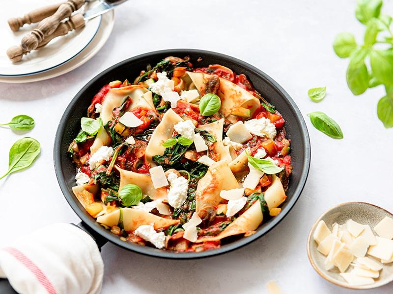 Recept voor vegetarische pan lasagne