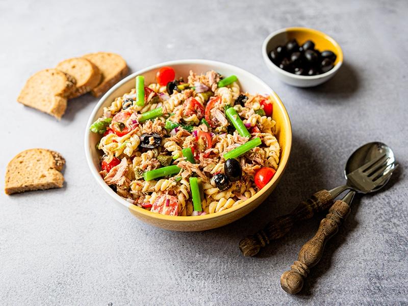 Recept voor romige pastasalade met tonijn en sperziebonen