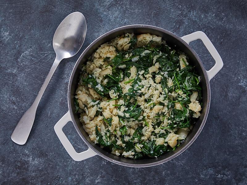 Recept voor spinaziestamppot met bloemkool en knolselderij