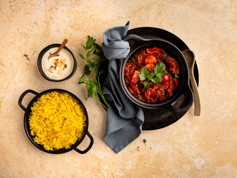 Goulash-met-saffraan-rijst